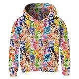 uideazone Little Girls Colorful Cat Pullover Hoodies Kids Cozy Cartoon Kitty Hooded Sweatshirt 6-8 Years