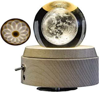 Amperer Vintage Music Box with Constellations Rotating Goddess LED Lights Twinkling Resin Carved Mechanism Musical Box with Sankyo 18-Note Wind Up Signs of The Zodiac Gift for Birthday (A6 Moon)