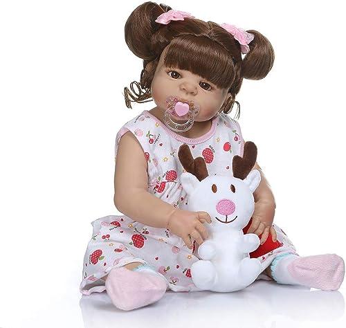 SN86qiu Neue wiedergeborene Babypuppe aus 56cm Silikon in brauner Hautfarbe Ganz silikon Bebe Puppe wiedergeboren Bad Spielzeug LOL Puppen Geburtstagsgeschenk