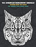100 American Dangerous Animals - Coloring Book for adults - Fox, Lioness, Tiger, Snake, other