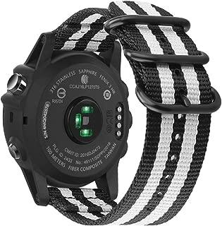 Fintie Band for Garmin Fenix 6X / Fenix 5X Plus/Tactix Charlie Watch, 26mm Premium Woven Nylon Adjustable Replacement Strap for Fenix 6X 5X/5X Plus/3/3 HR/Tactix Charlie Smartwatch - Black/White