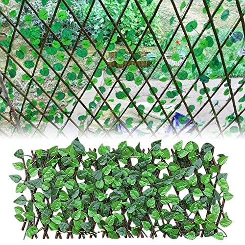 Binwe Künstliche Efeu Privatsphäre Zaun Bildschirm, Holz einziehbare Garten Pflanze Zaun, künstliche Hecken Zaun und Faux Ivy Vine Leaf Dekoration für Outdoor-Dekor, Garten