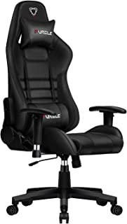 Furgle Gaming Chair Racing Style High Back Office Chair with PU Leather Executive Ergonomic Swivel Video Game Chairs with 3D Adjustable Armrests Headrest and Lumbar Support (Black)