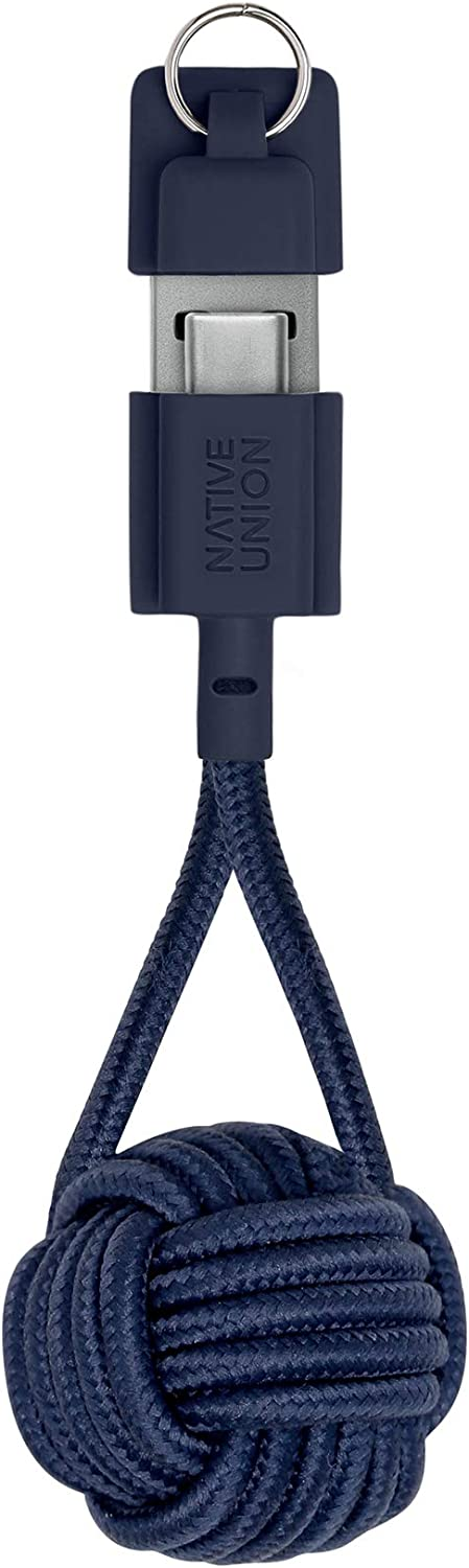 Native Union Key Cable USB-C to USB-A - Ultra-Strong Charging Cable with Key Fob Compatible with Galaxy Z Fold 2, S21, Note 20,Google Pixel 5, iPad Pro (2018 & Later), iPad Air 4 (Marine)