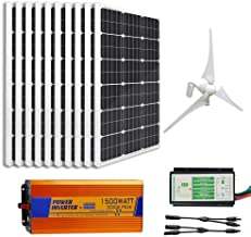 ECO-WORTHY 1.4Kw Wind Solar Power: 400W Wind Turbine Generator & 10pcs 100W Mono Solar Panels & 1500W 24V-110V Off Grid Inverter & Cable Connector Home Boat RV