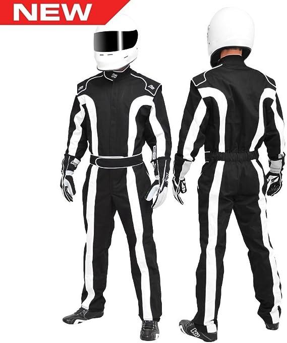 Black//White, XXX-Large Single Layer SFI-1 Proban Cotton Fire Suit K1 Race Gear Triumph 2