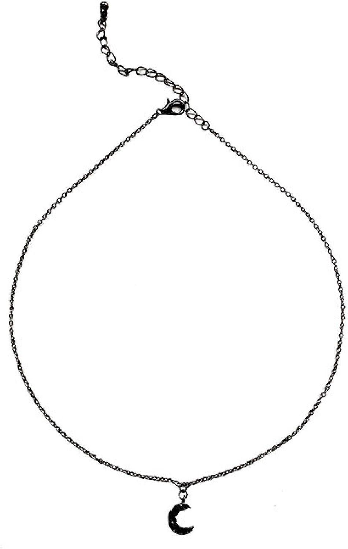 Naswi Gothic Simple Black Moon Pendent Necklace Korean Dark Crescent Necklace for Women Men Girls Collar Neck Jewelry Gift