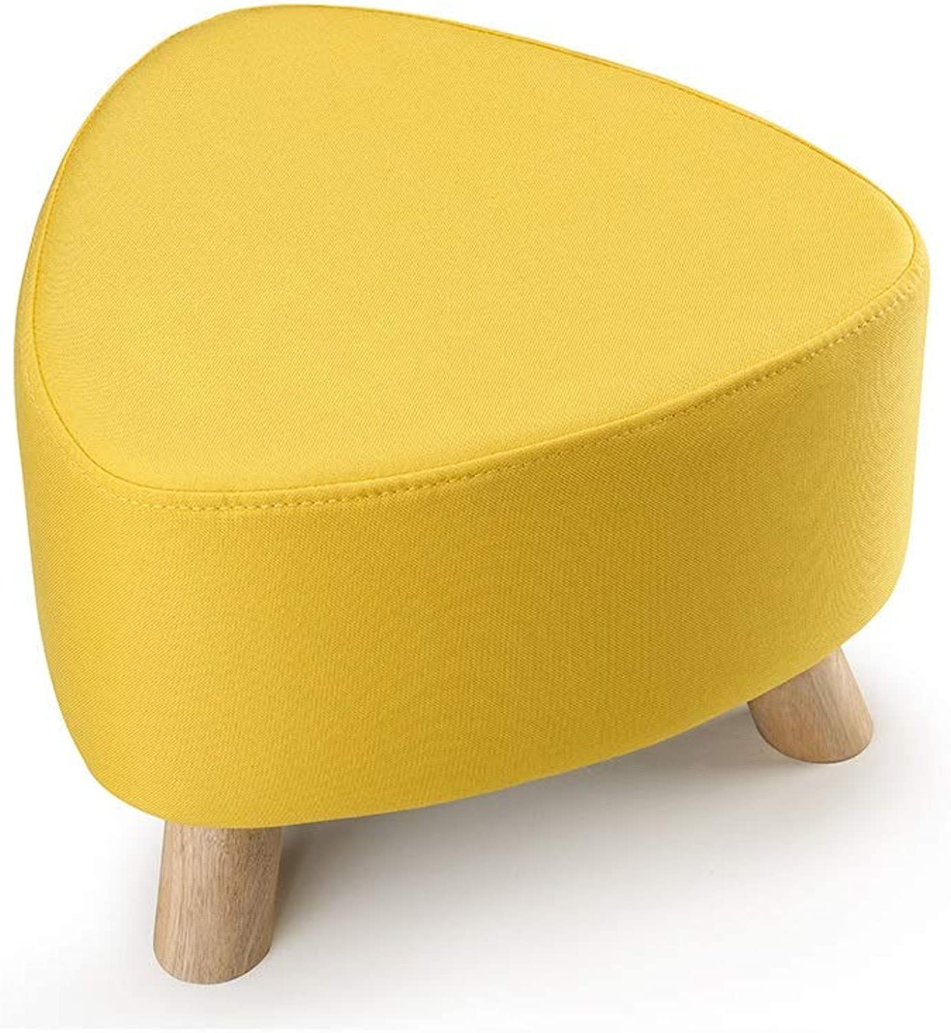 Footstool Upholstered Triangle Stool Chair Solid Wood Three-Legged Support Removable Yellow Linen Cover Sofa Bench (color   Yellow)