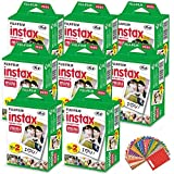 FujiFilm Instax Mini Instant Film 8 Pack (8 x 20) 160 Photo Sheets + 180 Assorted Colorful Mini Photo Stickers for FujiFilm Instax Mini 11, 9 and 8 Cameras, Polaroid Film