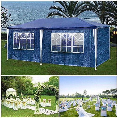HG® Partyzelt festzelte 3x6m blau Camping Vereinszelt Strand Stahlkonstruktion mit extra dickem Stahlgestänge Wasserdicht Fenster inkl. 6 abnehmbaren Seiten Festzelt