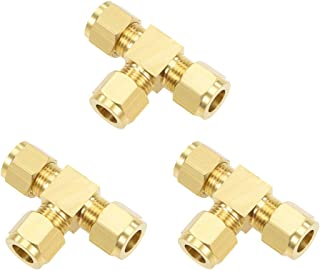 uxcell Brass Compression Tube Fitting 9.8mm OD Straight UNC 10-24 Thread Nozzle Hole Pipe Adapter for Water Garden Irrigation System 5pcs