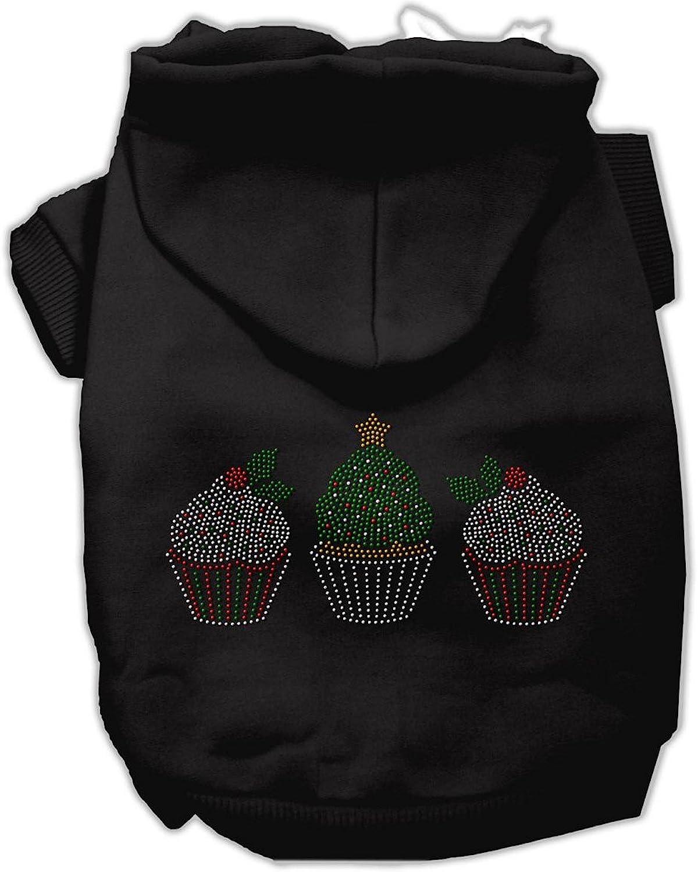 Mirage Pet Products 16Inch Christmas Cupcakes Rhinestone Hoodie, XLarge, Black