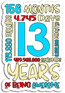 Hand Wooden Customizable Sticker 13th Birthday for Kids Age 13 Year Old Boys Girls Stickers Personalize (3 pcs/Pack)