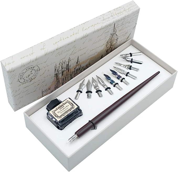 82 opinioni per Penna Dip in Legno Set di Calligrafia Artigianale Regalo di Scrittura con