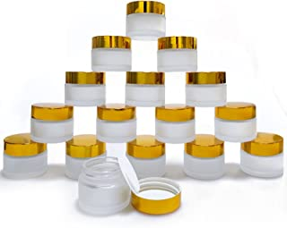15PCS Empty Cosmetic Sample Pots 15g/15ml Glass Cosmetic Pots with Leakproof Lids, BPA Free Travel Bottles for Cosmetic, Lotion, Cream, Lip Balm, Makeup, Bead, Rhinestone, Samples (Golden)