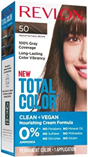 Revlon Total Color Permanent Hair Color, Clean and Vegan, 100% Gray Coverage Hair Dye, 50 Medium Natural Brown, 3.5 oz