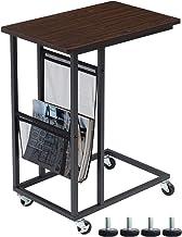 طاولة جانبية للأريكة من EKNITEY، طاولة خفيفة على شكل حرف C مع عجلات وجيب جانبي لغرفة المعيشة، والكمبيوتر المحمول، وغرفة ال...
