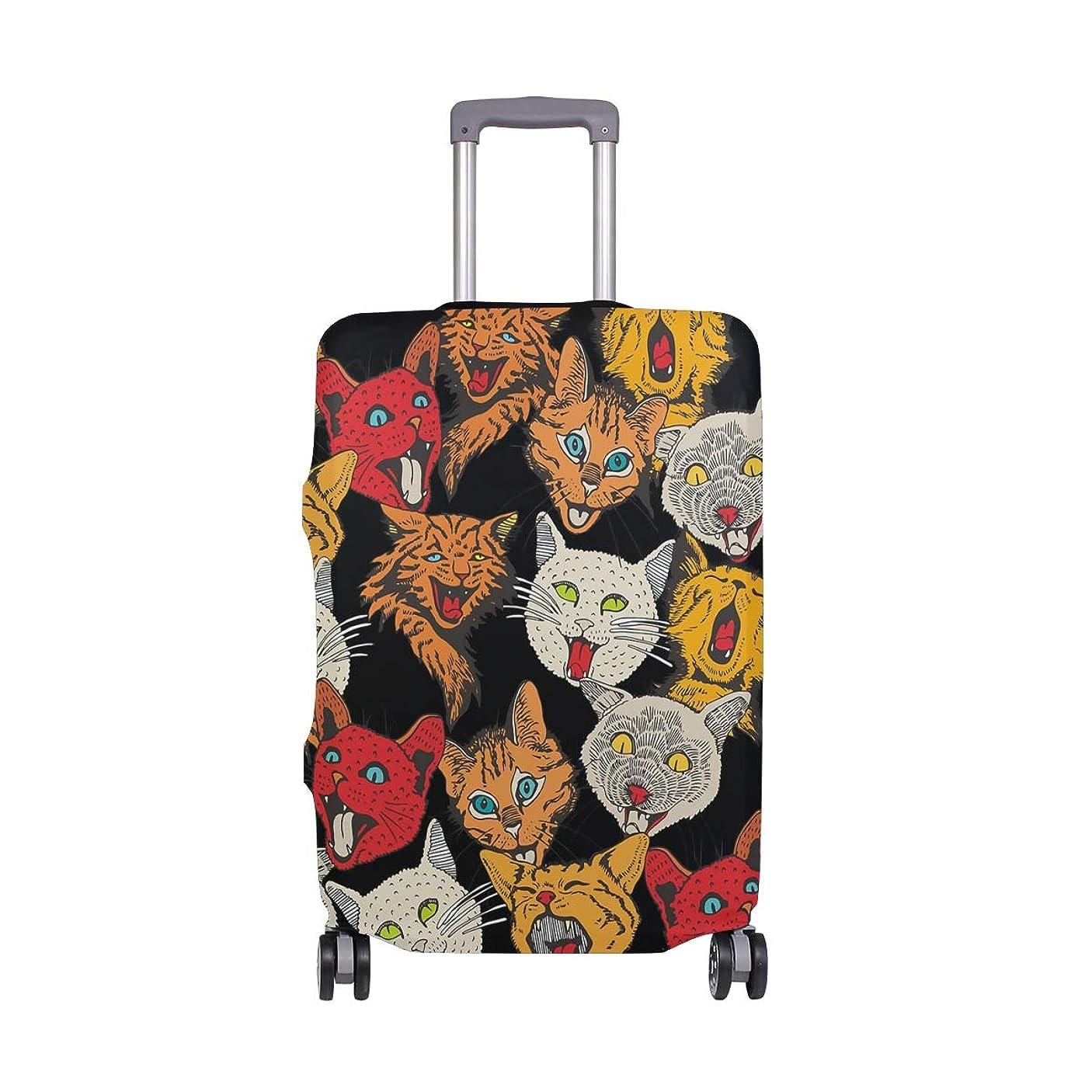マイクロフォン性差別ゆるいスーツケースカバー 荷物カバー 猫柄 パターン 伸縮素材 ラゲッジカバー 防塵 擦り傷防止 トラベルアクセサリ 旅行