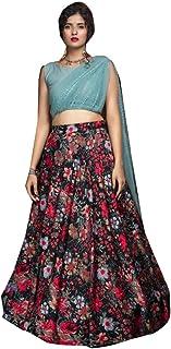 Black Printed Crepe Skirt & Sky Blue Top Indian Diwali Festival Stitched Girls Fashion Lehenga Choli Women Dress