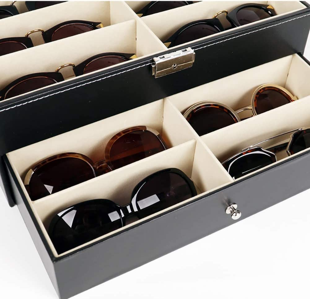 Bling Leather 12 Piece Eyeglasses Storage for Men Sunglass Glasses Display Drawer Lockable Case Organizer