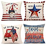 4th of July Decorations Pillow Covers 18x18 Set of 4 Independence Day Memorial Day Patriotic Rustic Farmhouse Decor Holiday Stars and Stripes Throw Cushion Case for Home Couch