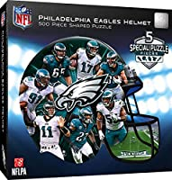 NFL Philadelphia Eagles Unisex Helmet Shaped 500 Piece Jigsaw Puzzle, Teal, 500-Piece