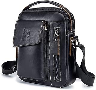 Men's Shoulder Bag Suede Leather Messenger Bag Sports and Leisure Leather Vertical (Color : Black, Size : M)