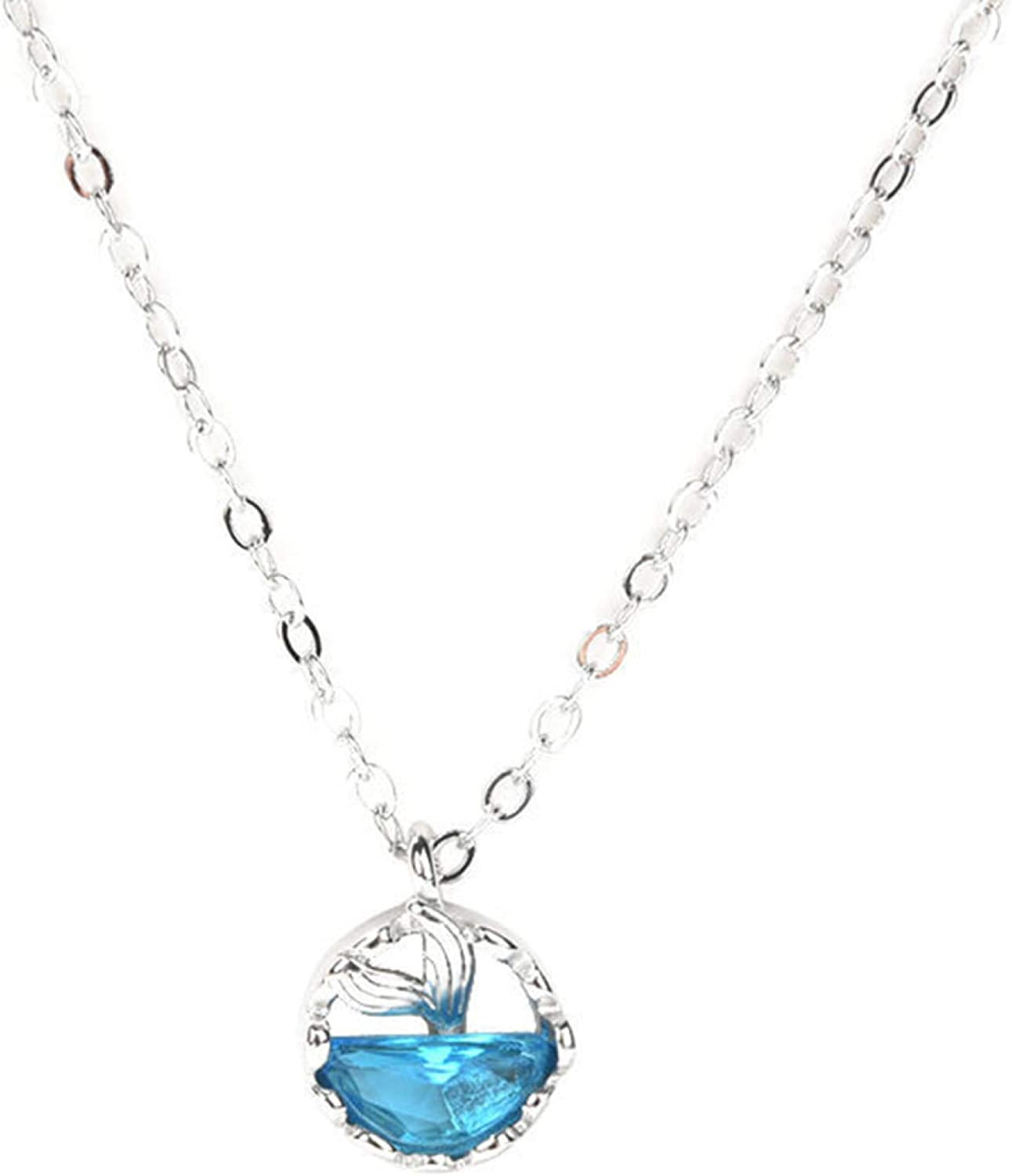 Faux Crystal Long-awaited Hollow Fish Tail Je San Diego Mall Chain Necklace Clavicle Pendant