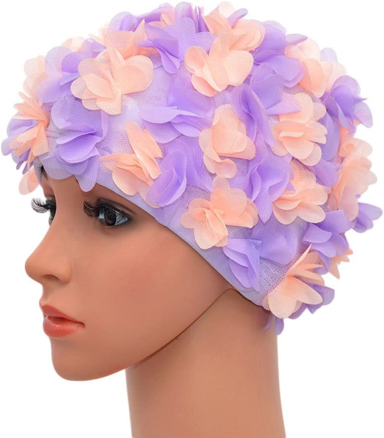 Tea Party Hats – Victorian to 1950s Medifier Lace Vintage Swim Cap Floral Petal Retro Style Bathing Caps for Women Rose $13.89 AT vintagedancer.com