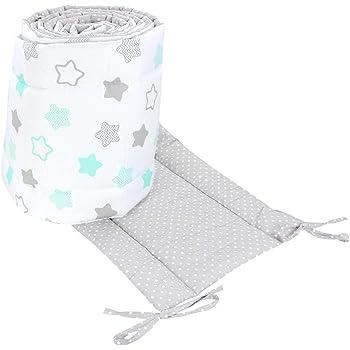 TupTam Babybett Bettumrandung Lang 2-seitig Gemustert Nest, Farbe: Sterne Mint/Punkte Grau, Größe: 420x30cm (für Babybett 140x70)