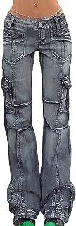 keepwo Womens Cargo Combat Trouser Lady Cotton Military Jeans Pants Camping Training Denim Pants Size M