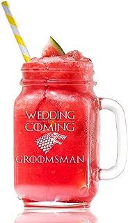 Wedding is Coming Groomsman Stark Game Of Thrones Inspired Gift 15 Mason Jar Glass, Groomsmen Beer Glass Gift, Best Man Gift, Bridal Party Gift, Groom Beer Glass.- 4 PC SET