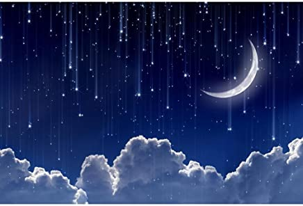 Artzfolio Night Sky With Moon & Stars Unframed Premium Canvas Painting 36 X 24Inch