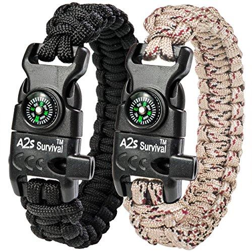 : A2S Proteccion Paracord Pulsera K2-Peak - Juego de equipo de supervivencia con brújula integrada, encendedor de fuego, cuchillo de emergencia y silbato (Negro/Beige)