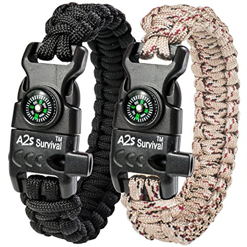 A2S Protection Paracord Bracelet K2-Peak – Survival Gear Kit with Embedded Compass, Fire Starter, Emergency Knife & Whistle (Black/Sand Camo 8.5')