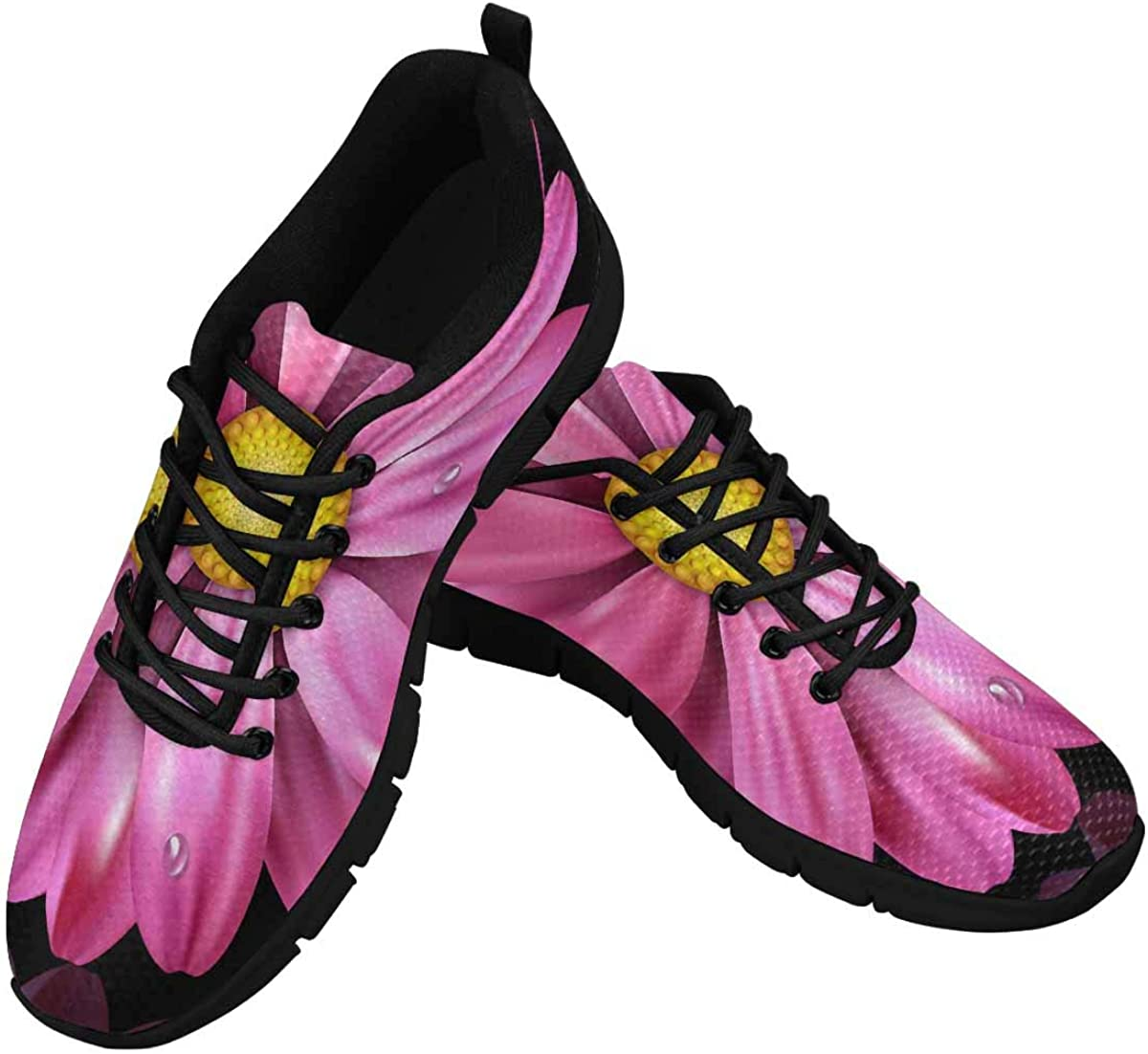 InterestPrint Pink Daisy Women's Breathable Comfort Mesh Fashion Sneakers