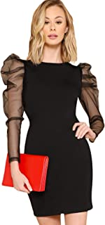 Women's Round Neck Puff Mesh Long Sleeve Short Bodycon Pencil Party Dress