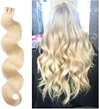 24 Inch 70g Remy Tape in Human Hair Extensions Long Wavy Hair 20pcs/pack Seamless Skin Weft Invisible Glue in Hair Body Wave #613 Bleached Blonde