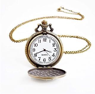 ZHJBD JIAN,Pocket Watch Montre De Poche Vintage Automne Flip Percées De Style Pastoral Et l'hiver Chandail Montre De Poche...