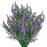 6 Pcs Artificial Lavender Flowers Bouquets, Plastic UV Resistant Faux Flowers Plants, Fake Greenery Shrubs Bushes Plants Flowers Decorations for Indoor, Outdoor, Garden, Home Decor(Purple)