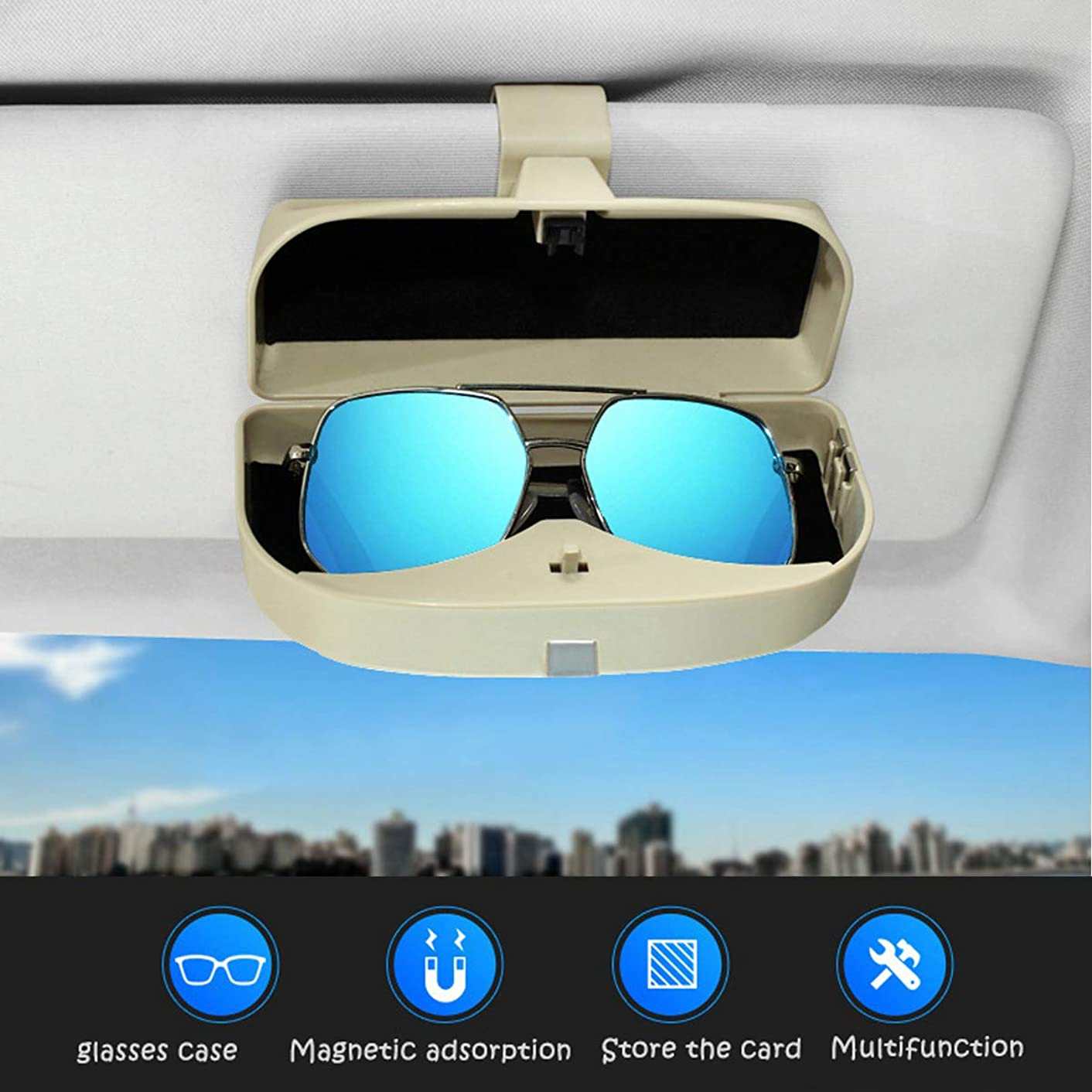 Dualshine Car Sun Visor Glasses Case Clip - Eye Sunglasses Storage Holder Box - Automotive Accessories ABS 1Pcs Apply to All Car Models (Beige)
