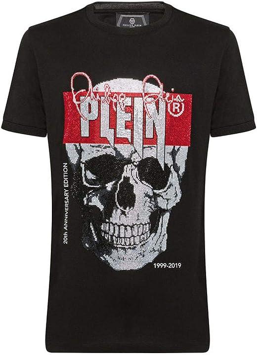 Maglietta philipp plein t-shirt con scollo rotondo con teschio mtk3678