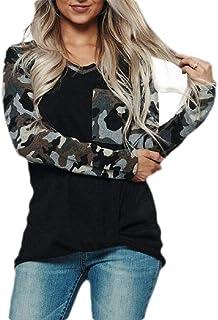 GUOCAI Women V Neck Tops Camouflage Raglan Sleeve Pocket T-shirt Blouse