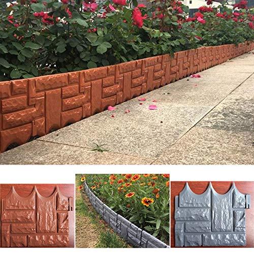 Ruyu Herramienta for el jardín 6PCS Bricolaje Jardín de ladrillo Cerca del Cemento Piedra de Cemento de moldes de plástico de jardín Valla de hormigón Flor Patio Césped Fabricante del Molde: Amazon.es: