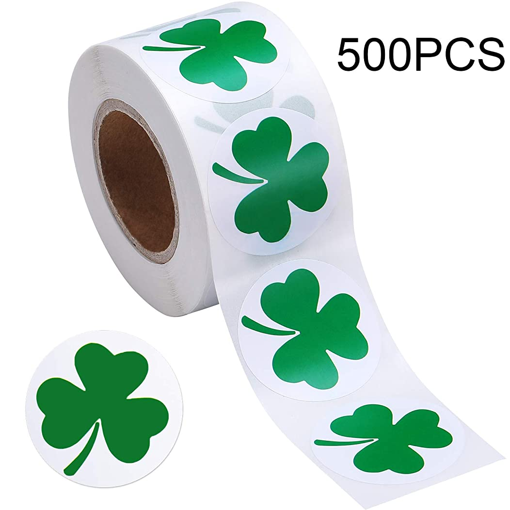 Boao St. Patrick's Day Stickers Shamrock Roll Stickers 1-1/2 Inch Adhesive Label for Irish Decoration and Craft (Style A, 500 Pieces)