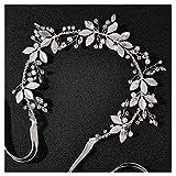 SWEETV Silberblättriges Hochzeits-Stirnband mit Kristallen, handgefertigt, Brautschmuck, Haarschmuck für Braut, Blumenmädchen