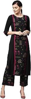 Ziyaa Women's Black Gold Print + Khadi Print Straight Crepe Kurta With Palazzo Set