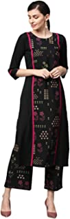 Ziyaa Women's Black Gold Print + Khadi Print Straight Crepe Kurta With Palazzo / Salwar Suit Set