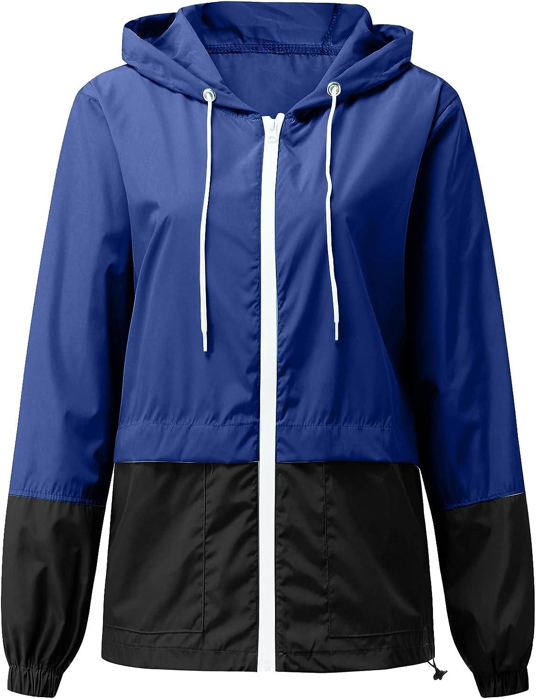 UNIPIN Women's Patchwork Rain Jacket Outdoor Jackets Hooded Raincoat Windproof
