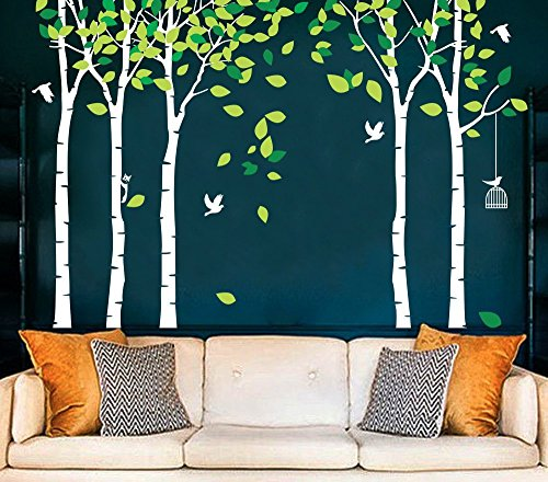"""Amaonm 104""""x71"""" Giant Large Jungle 5 Trees Wall Decals Green Leaves and Fly Birds Wallpaper Wall Decor DIY Vinyl Wall Stickers for Kids Bedroom Living Room Nursery Rooms Offices Walls (White Tree)"""